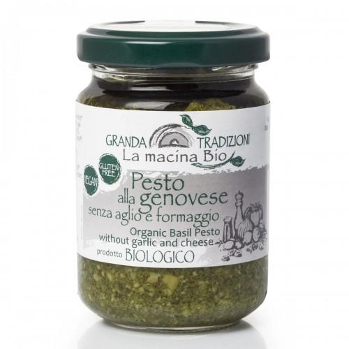 Соус песто Дженовезе со 100% Генуэзским Базиликом DOP на оливковом масле extra vergine без чеснока и сыра 130 г La Macina BIO